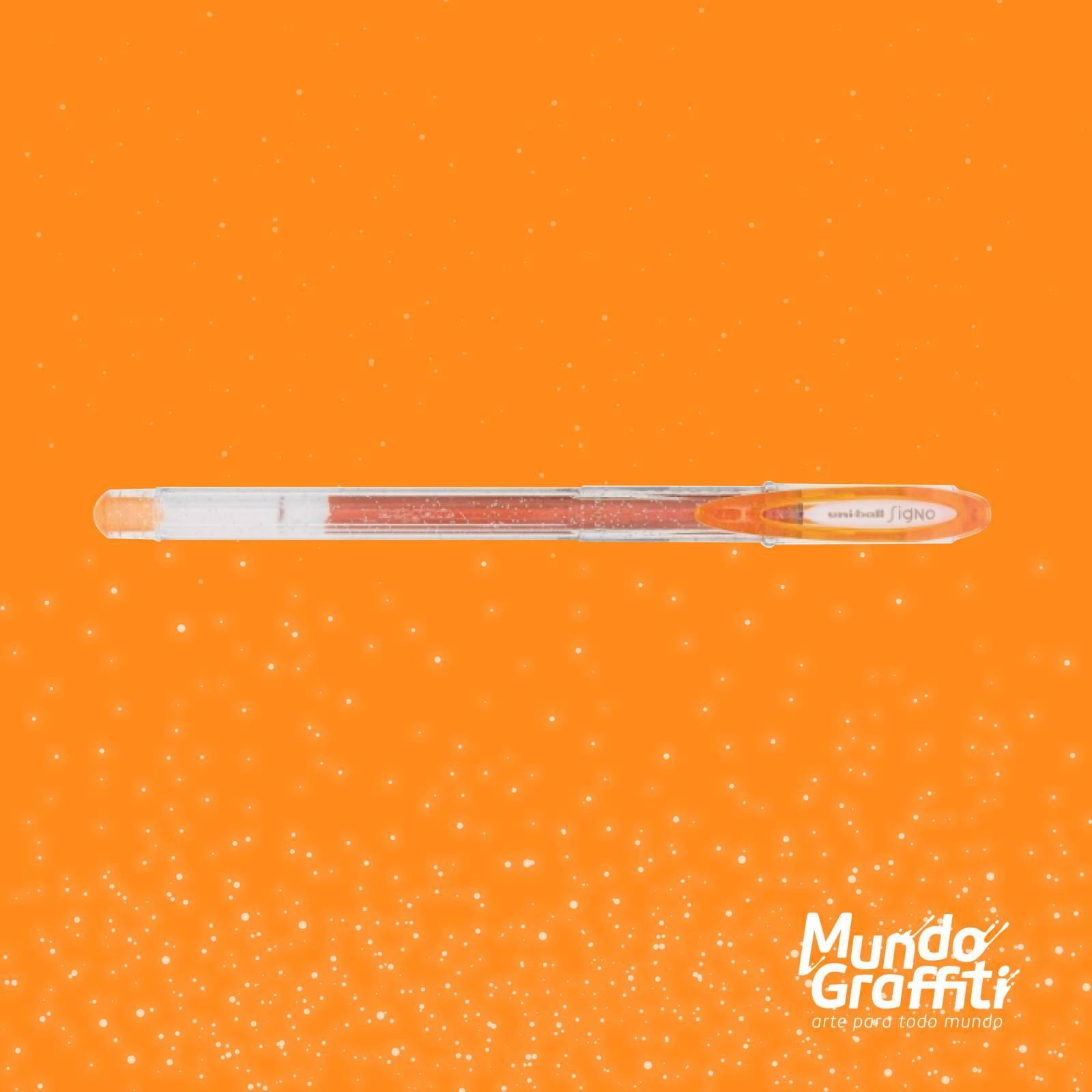 Caneta Signo Gel Sparkling Glitter Laranja 0,7mm - Mundo Graffiti
