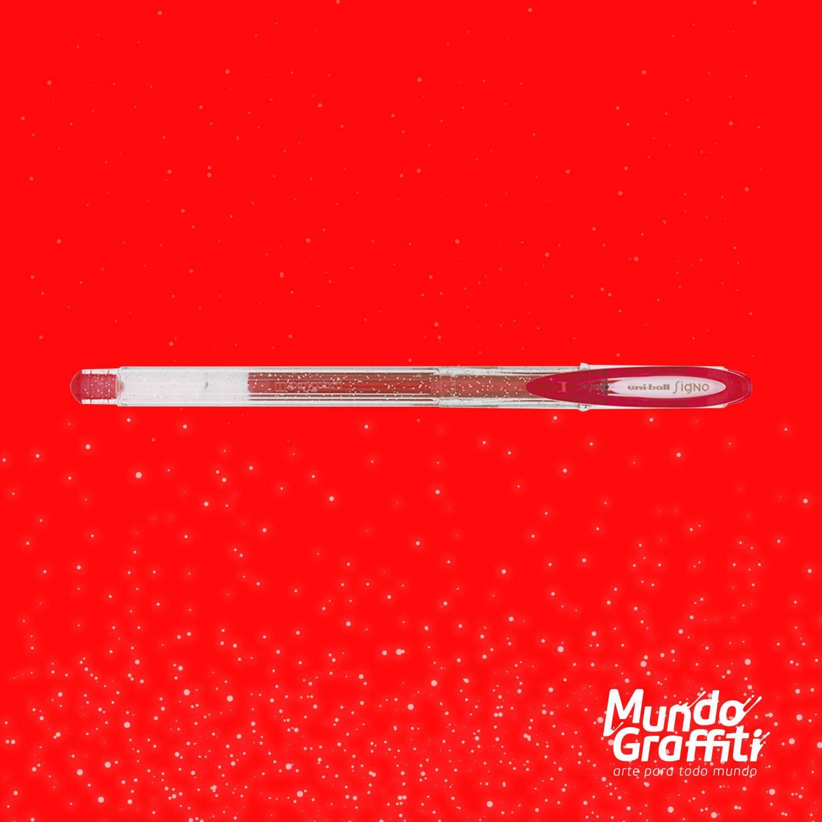 Caneta Signo Gel Sparkling Glitter Vermelho 0,7mm - Mundo Graffiti