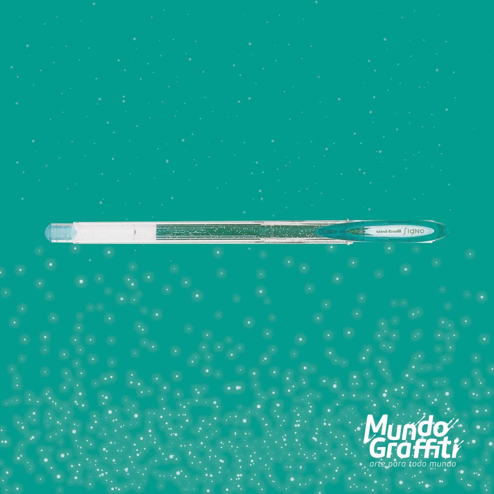 Caneta Signo Gel Sparkling Glitter Verde 0,7mm - Mundo Graffiti