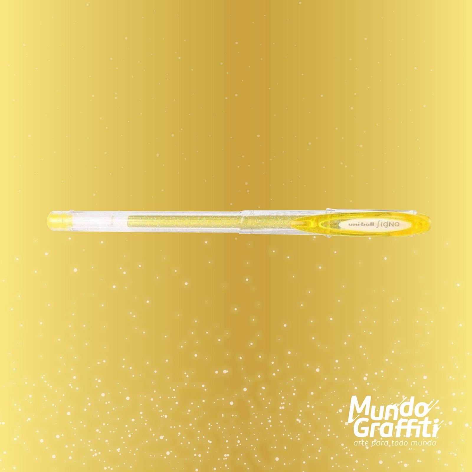 Caneta Signo Gel Sparkling Glitter Ouro 0,7mm - Mundo Graffiti