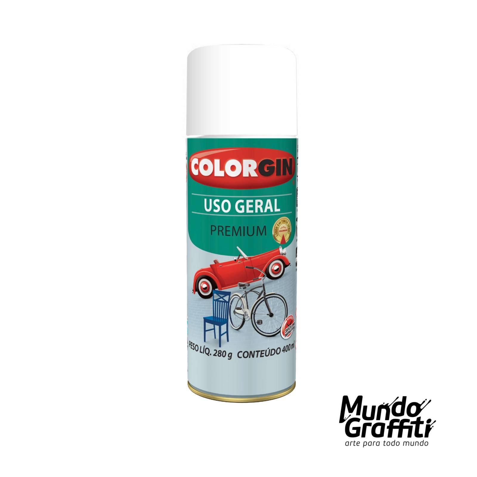Tinta Spray Colorgin Uso Geral 54011 Branco Intenso Fosco 400ml - Mundo Graffiti