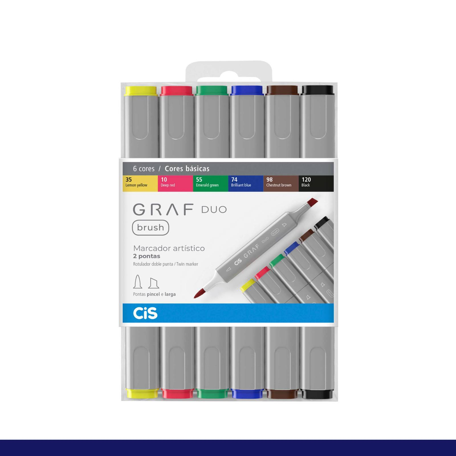 Kit Cis Graf Duo Brush Cores Basicas C/ 6 - Mundo Graffiti