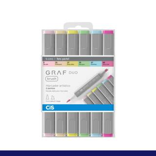 Kit Cis Graf Duo Brush Cores Pasteis C/ 6