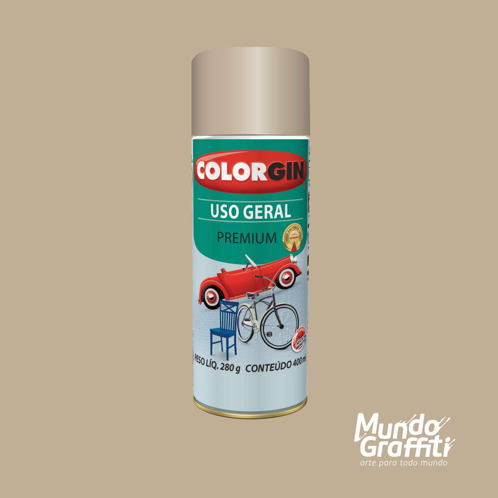 Tinta Spray Colorgin Uso Geral 55241 Bege Brastemp 400ml - Mundo Graffiti