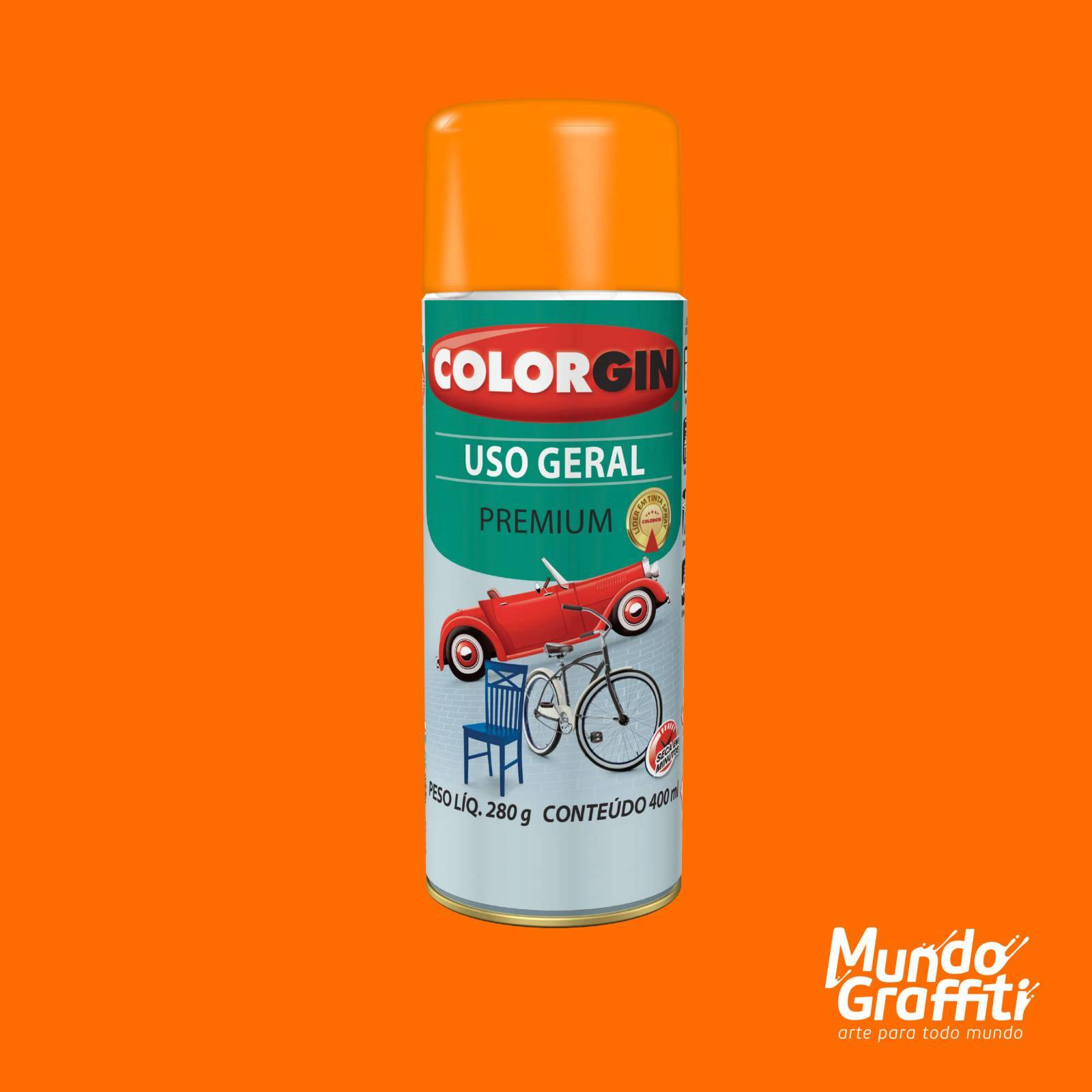 Tinta Spray Colorgin Uso Geral 54023 Laranja 400ml - Mundo Graffiti