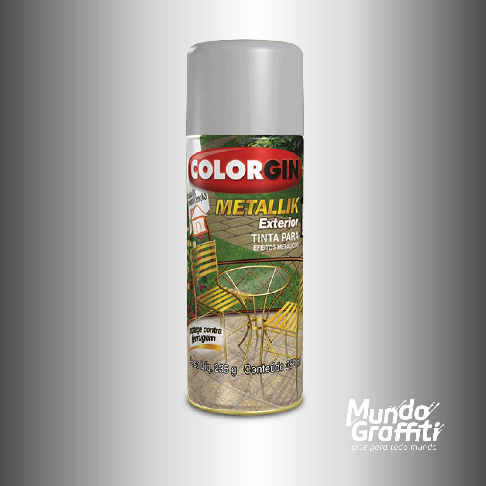 Tinta Spray Colorgin Metallik Exterior 64 Prata 350ml - Mundo Graffiti