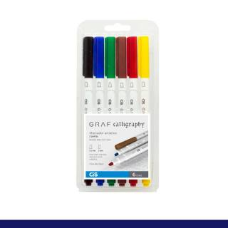 Kit Caneta CiS Art Graf Calligraphy c/ 6 Cores