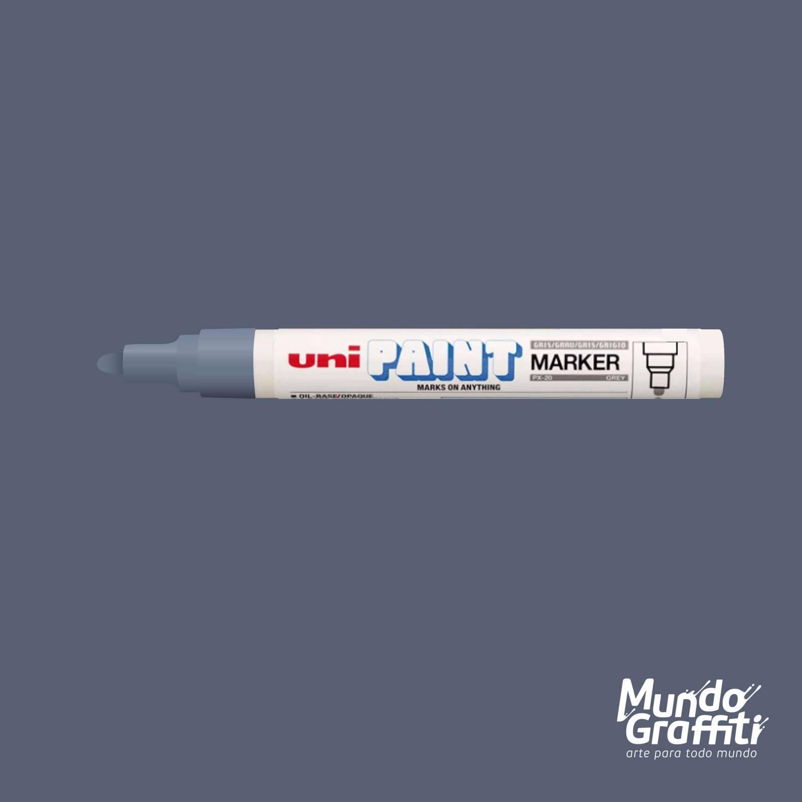 Marcador Permanente Uni Paint Marker PX20 Cinza - Mundo Graffiti