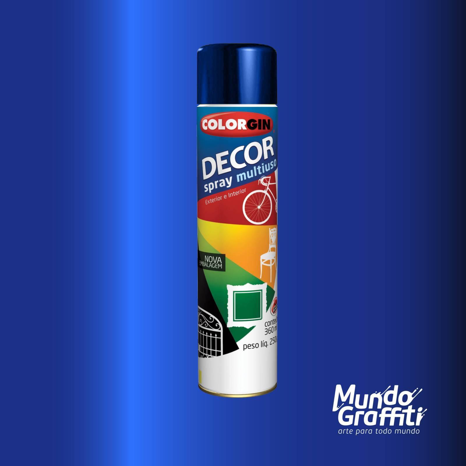 Tinta Spray Colorgin Decor 8601 Azul Angra Metalico 360ml - Mundo Graffiti