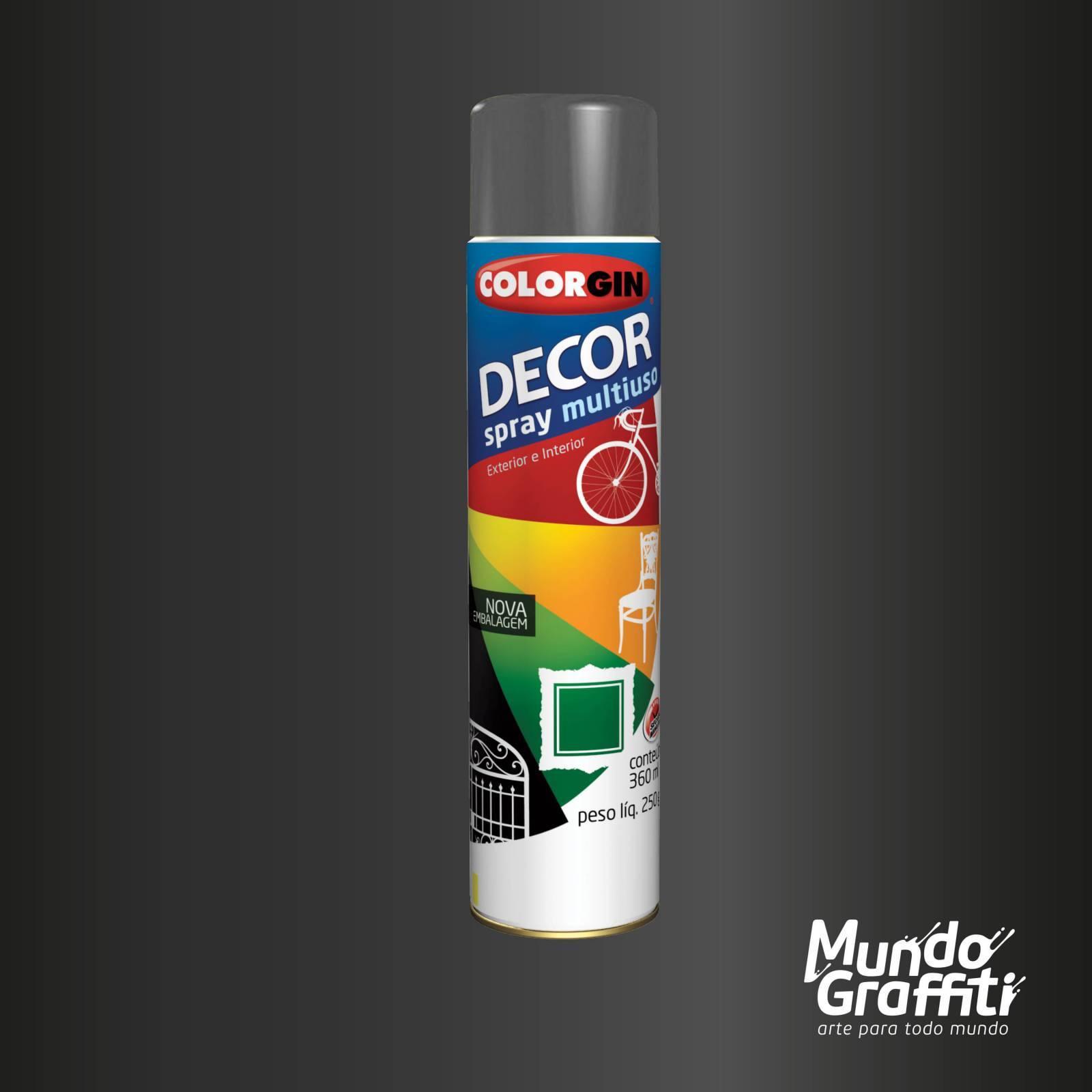 Tinta Spray Colorgin Decor 8661 Grafite Metalico 360ml - Mundo Graffiti