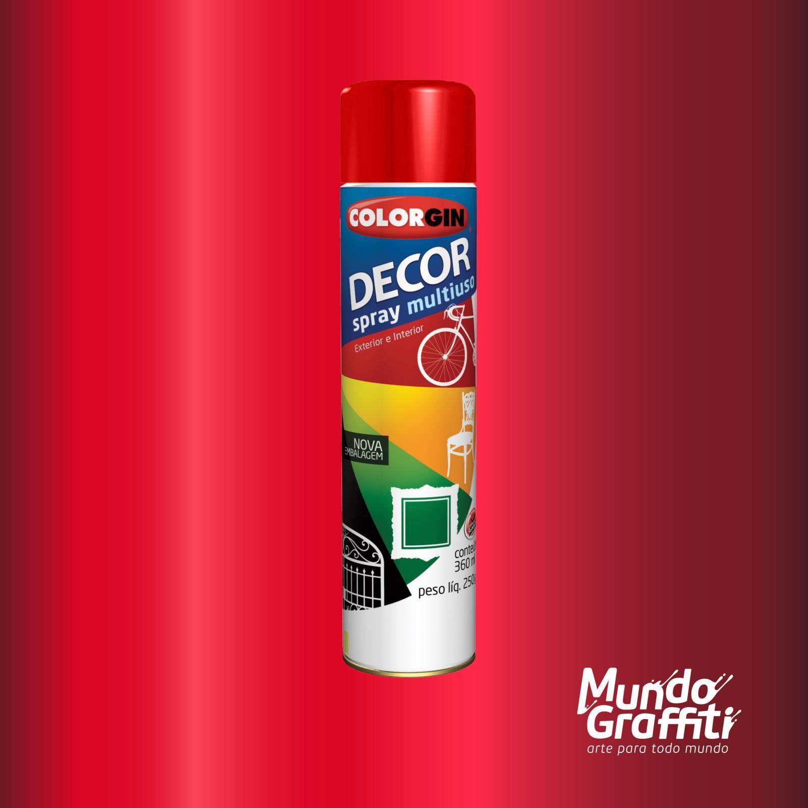 Tinta Spray Colorgin Decor 8771 Vermelho Metalico 360ml - Mundo Graffiti