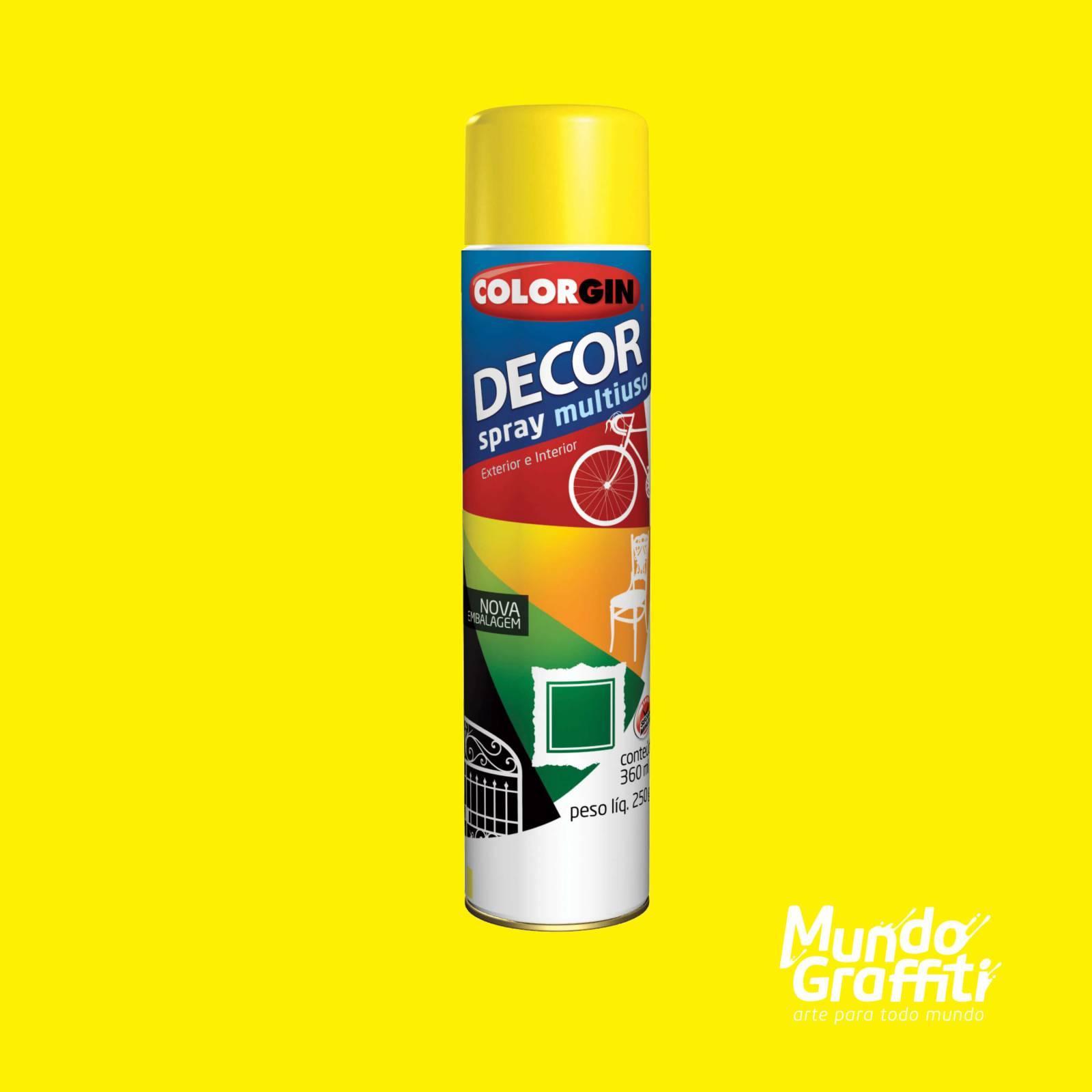 Tinta Spray Colorgin Decor 8591 Amarelo Brilhante 360ml - Mundo Graffiti