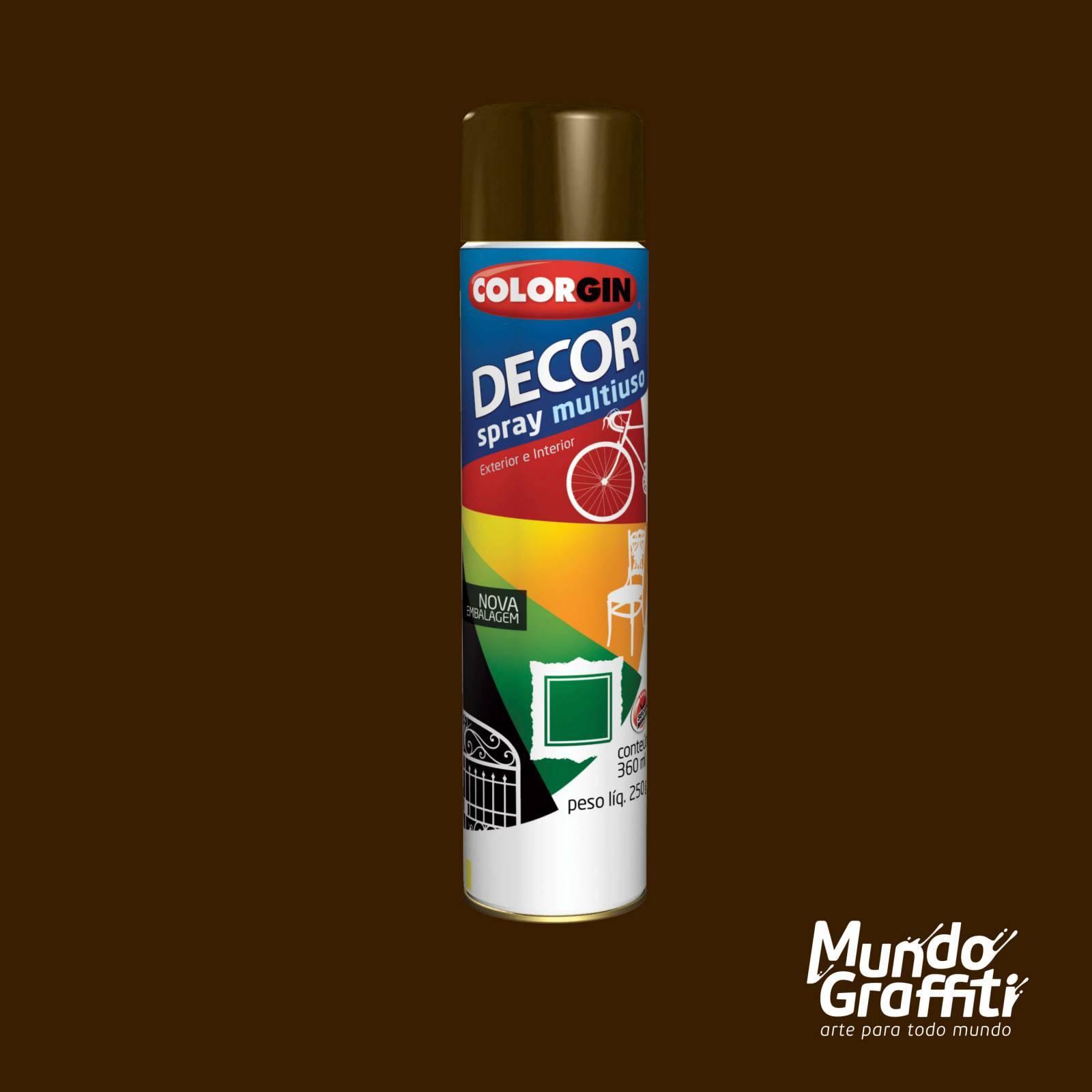 Tinta Spray Colorgin Decor 8821 Marrom Cafe Brilhante 360ml - Mundo Graffiti