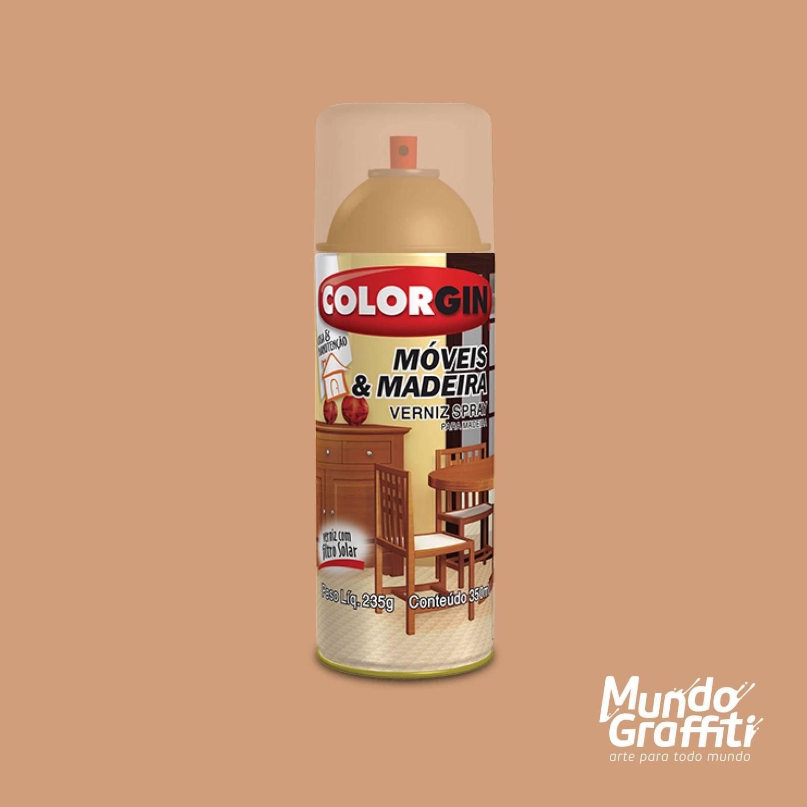 Spray Verniz Colorgin Imbuia p/ Madeira 764 Brilhante 350ml - Mundo Graffiti