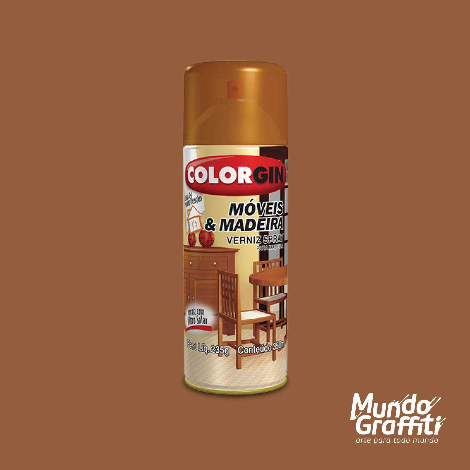 Spray Verniz Colorgin Mogno p/ Madeira 763 Brilhante 350ml - Mundo Graffiti