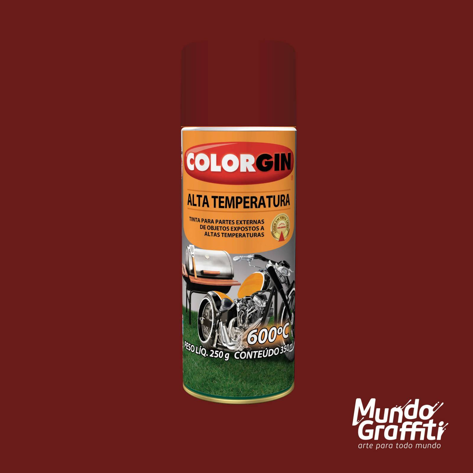 Tinta Spray Colorgin Alta Temperatura 5725 Vermelho Fosco 30 - Mundo Graffiti