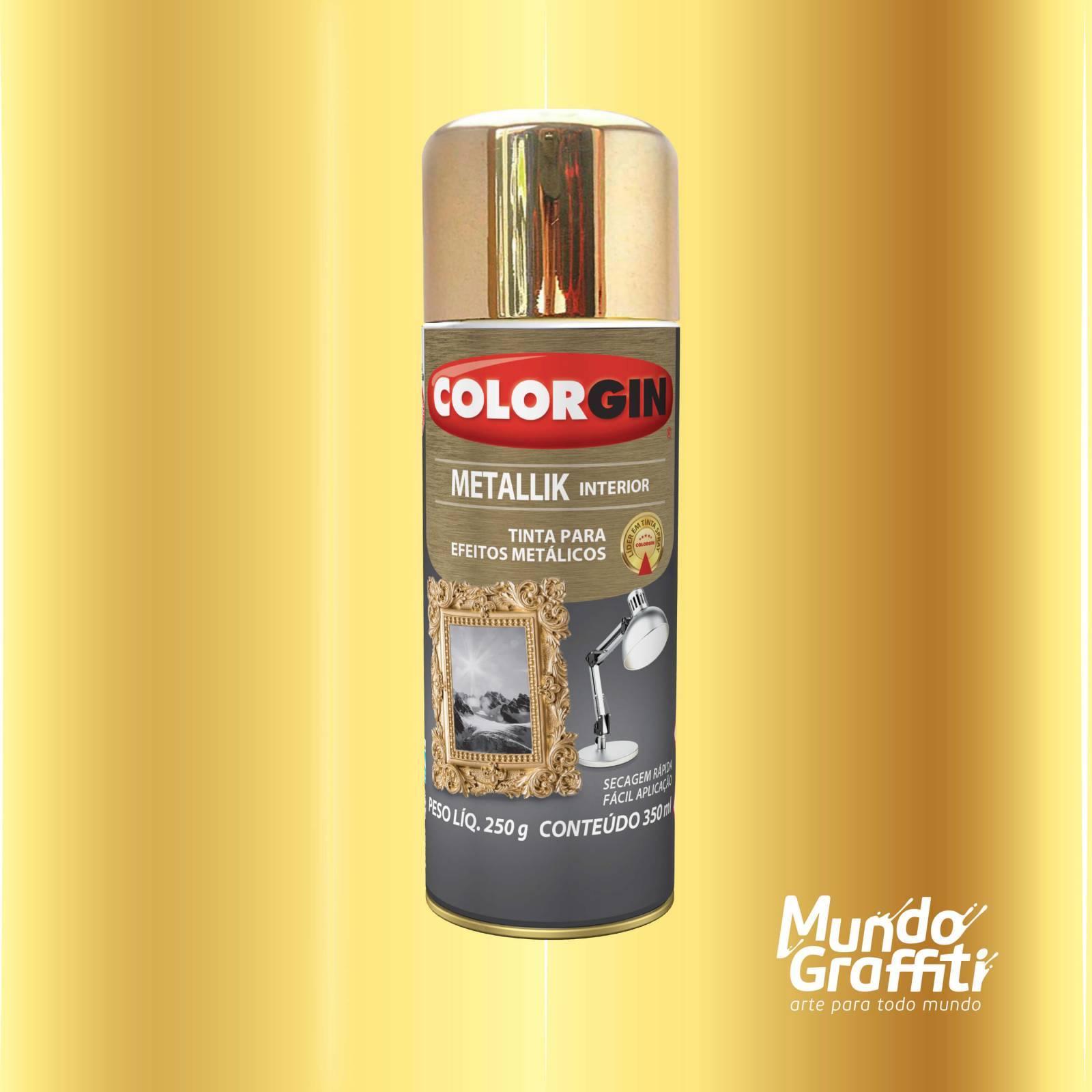 Tinta Spray Colorgin Metallik 057 Dourado 350ml - Mundo Graffiti