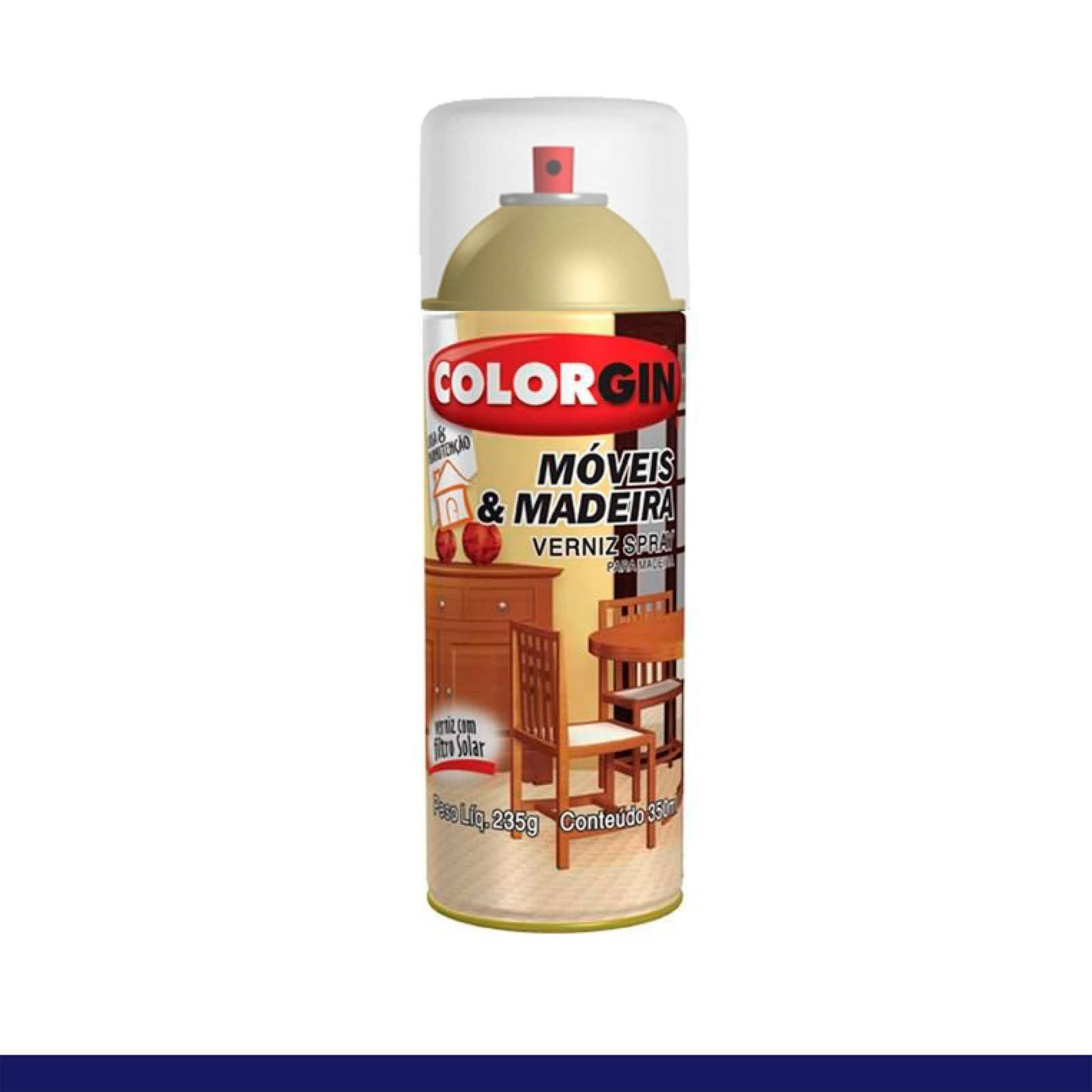 Spray Verniz Colorgin Natural p/ Madeira 765 Brilhante 350ml - Mundo Graffiti