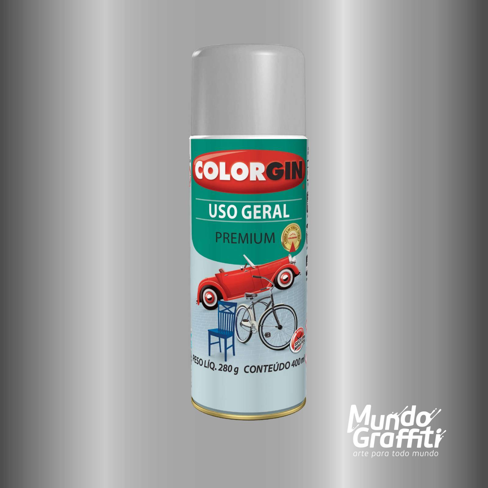 Tinta Spray Colorgin Uso Geral 55001 Alumínio Rodas 400ml - Mundo Graffiti