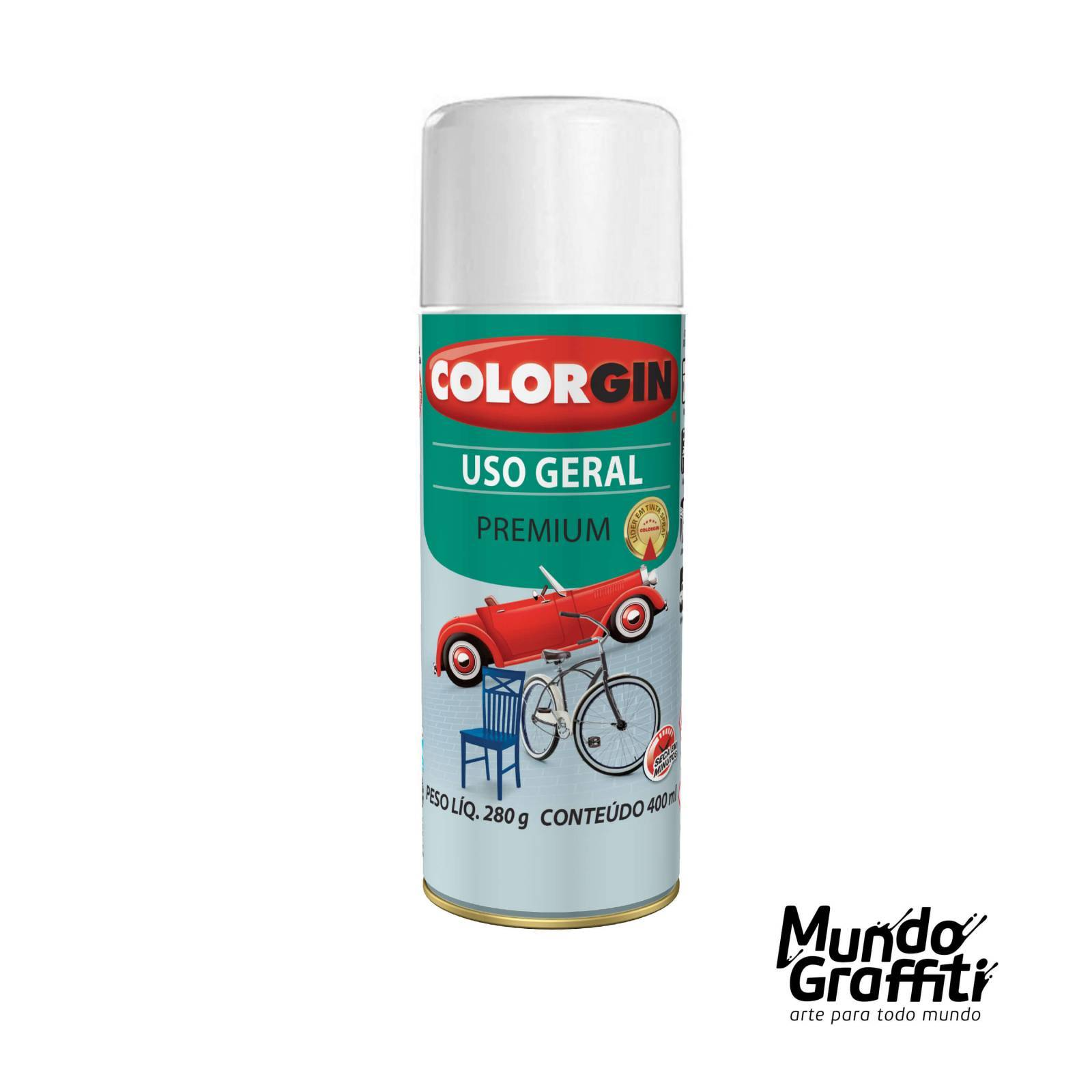 Tinta Spray Colorgin Uso Geral 55201 Branco Brastemp 400ml - Mundo Graffiti