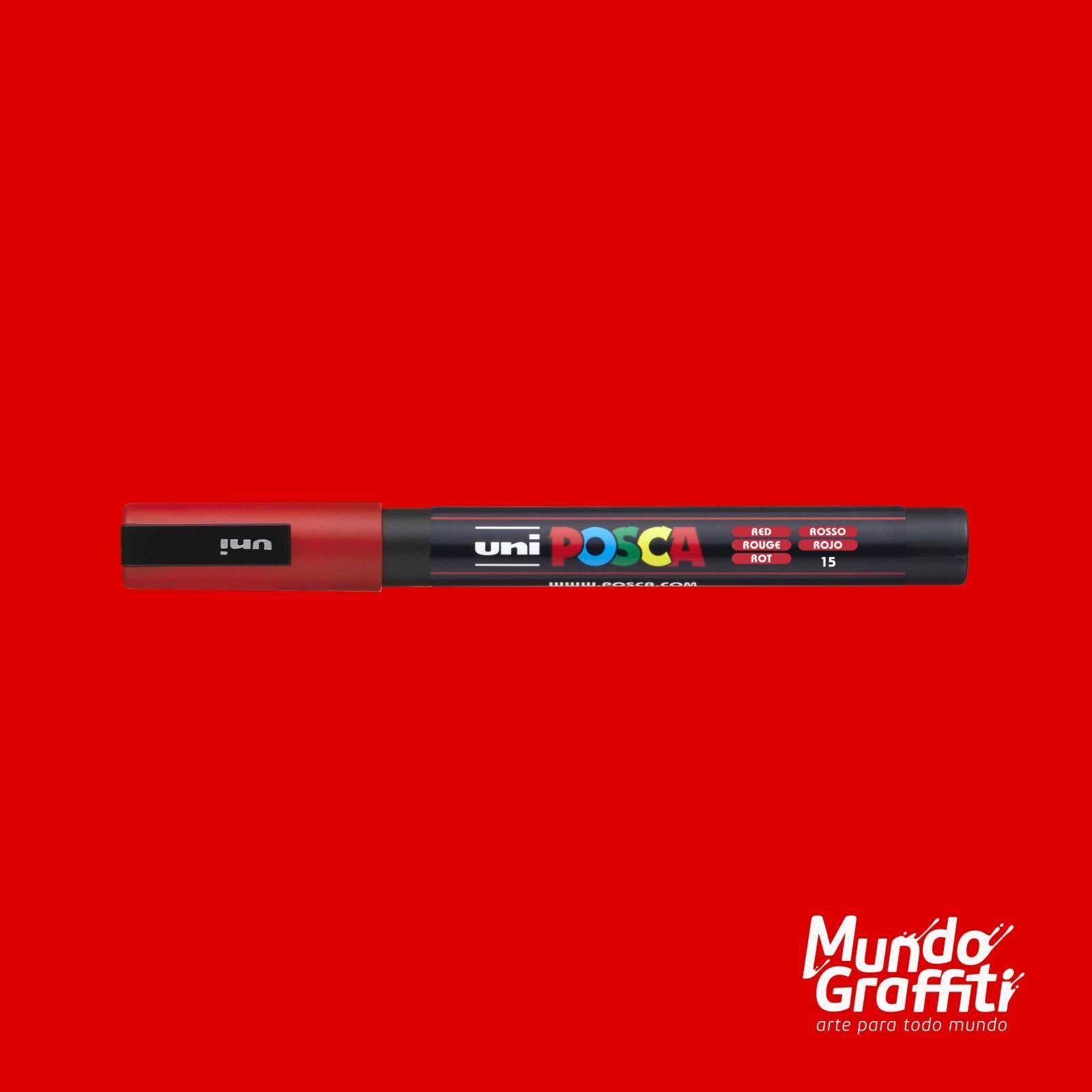Caneta Posca 3M Vermelho - Mundo Graffiti
