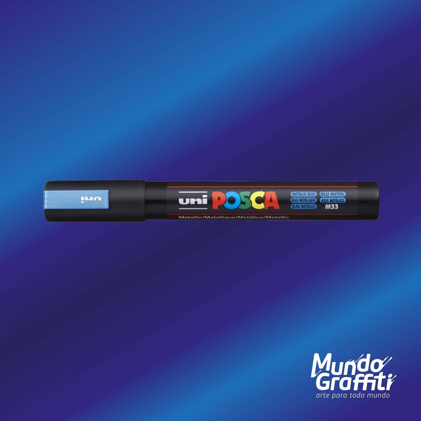 Caneta Posca 5M Azul Metálico - Mundo Graffiti