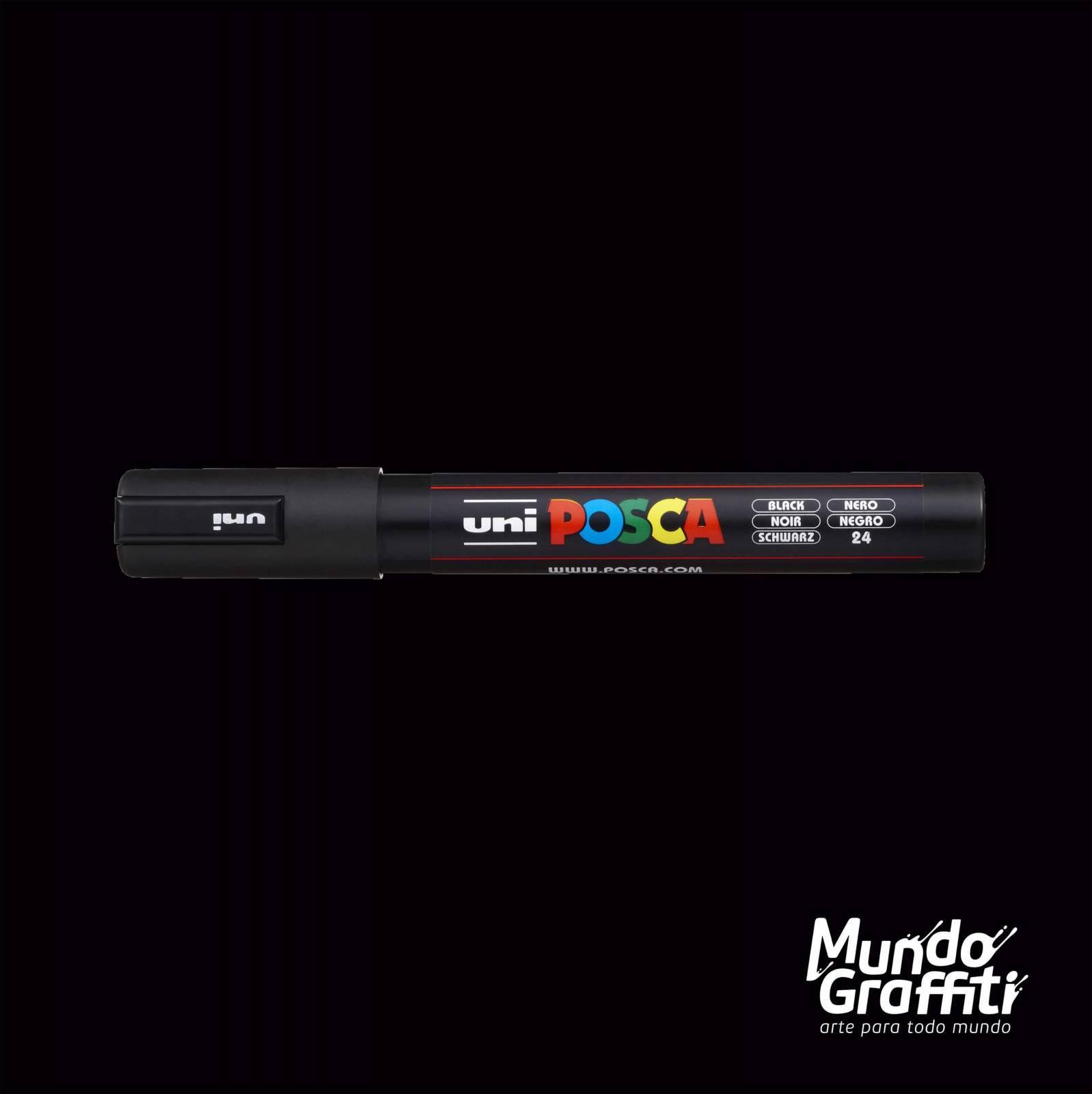 Caneta Posca 5M Preto - Mundo Graffiti