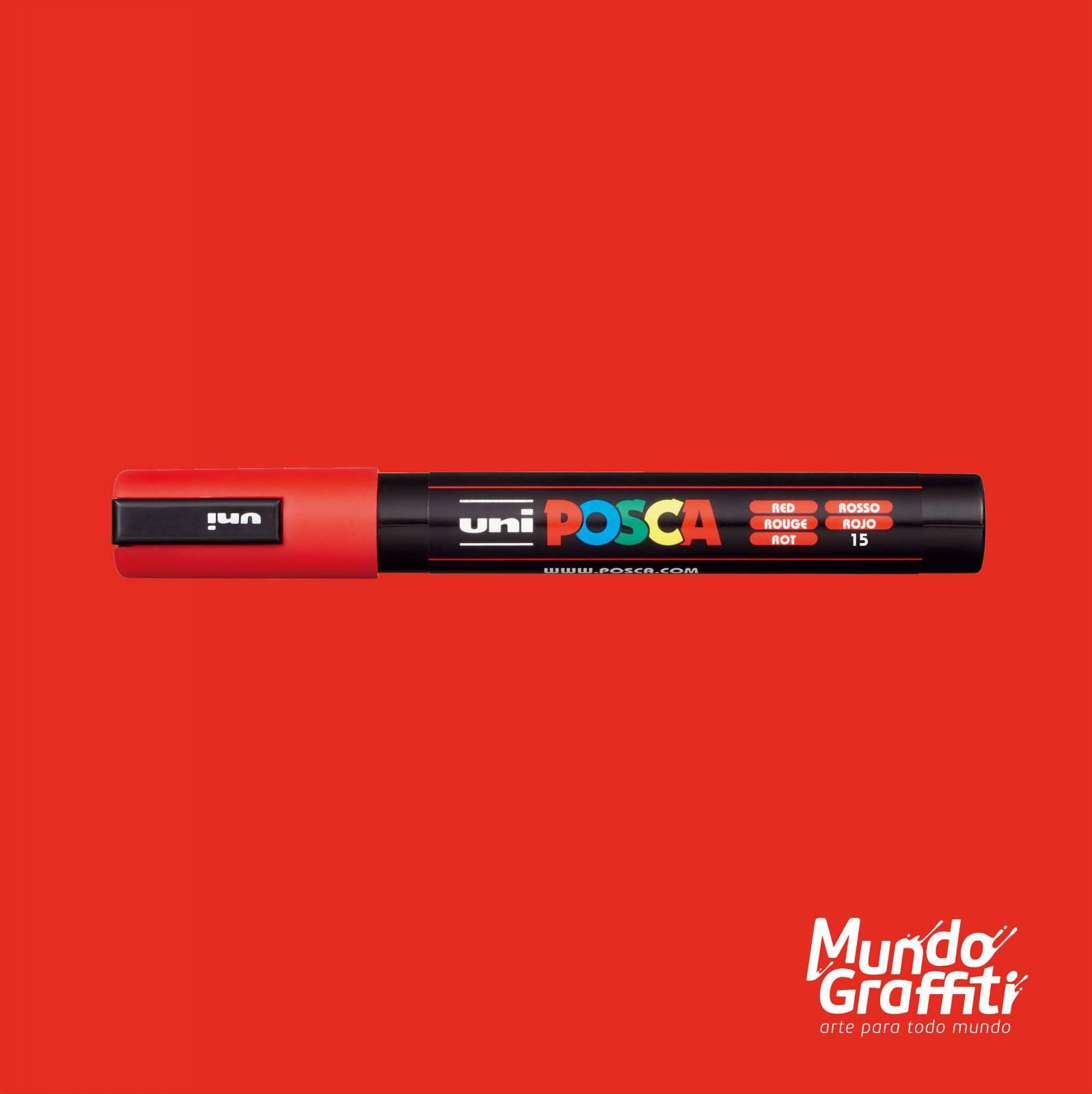 Caneta Posca 5M Vermelho - Mundo Graffiti