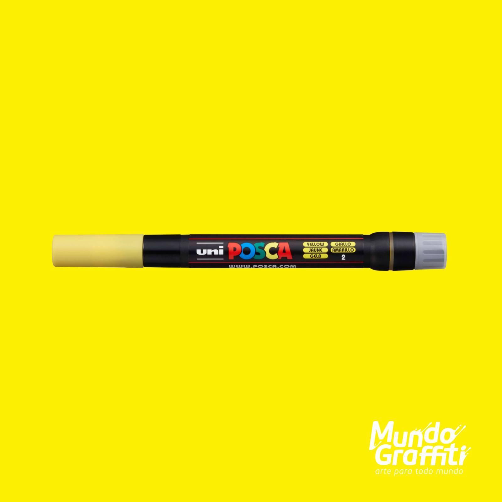 Caneta Brush Posca PCF 350 Amarelo - Mundo Graffiti