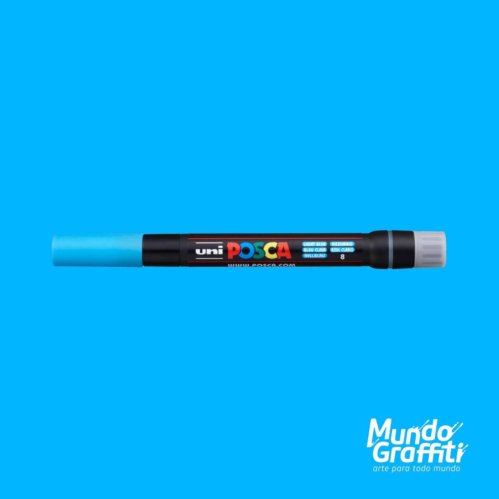Caneta Brush Posca PCF 350 Azul Claro - Mundo Graffiti