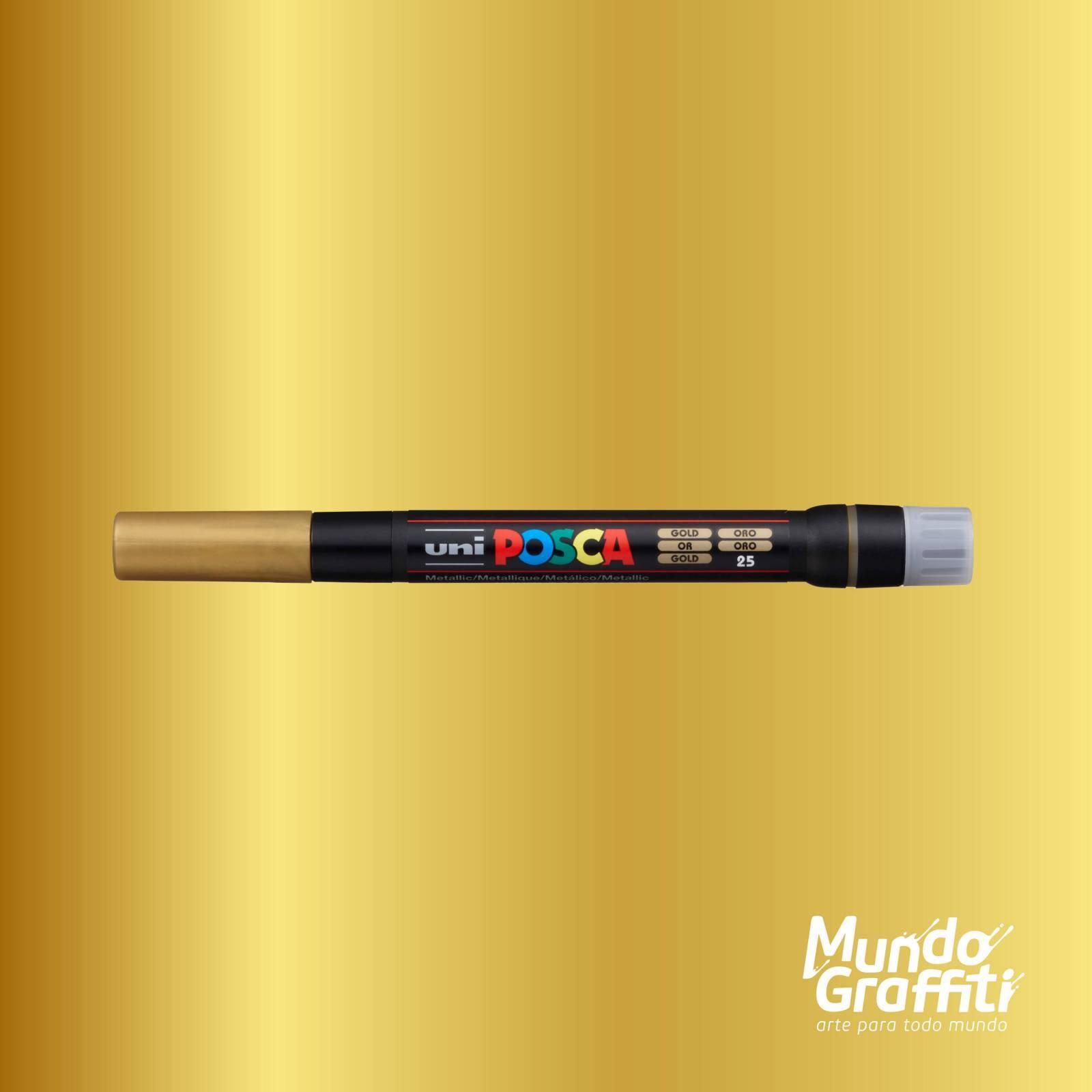 Caneta Brush Posca PCF 350 Ouro - Mundo Graffiti