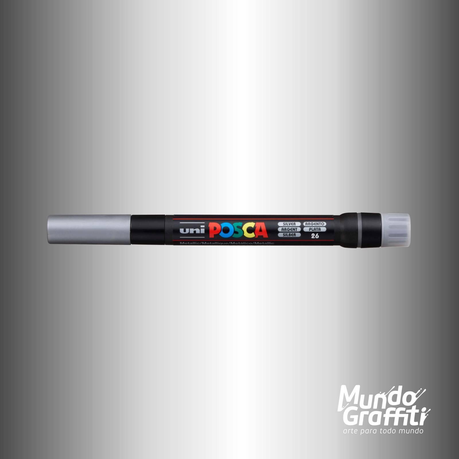 Caneta Brush Posca PCF 350 Prata - Mundo Graffiti
