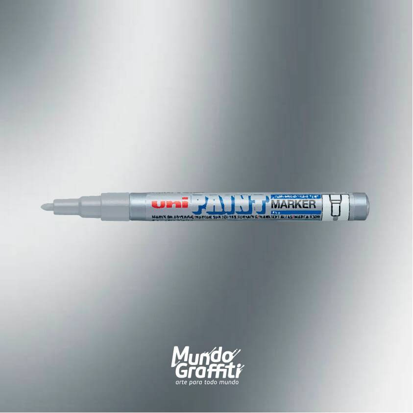 Marcador permanente Uni Paint Marker PX21 prata - Mundo Graffiti