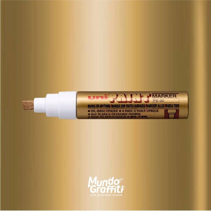 Marcador Permanente Uni Paint Marker PX30 Ouro - Mundo Graffiti