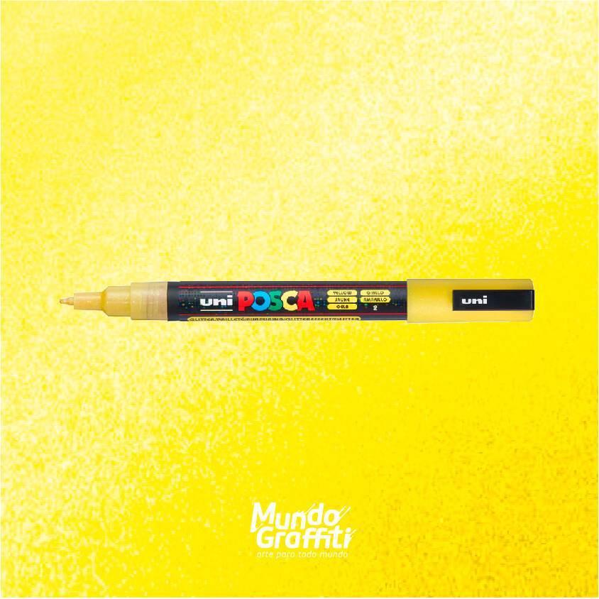 Caneta Posca 3M Amarelo Glitter  - Mundo Graffiti
