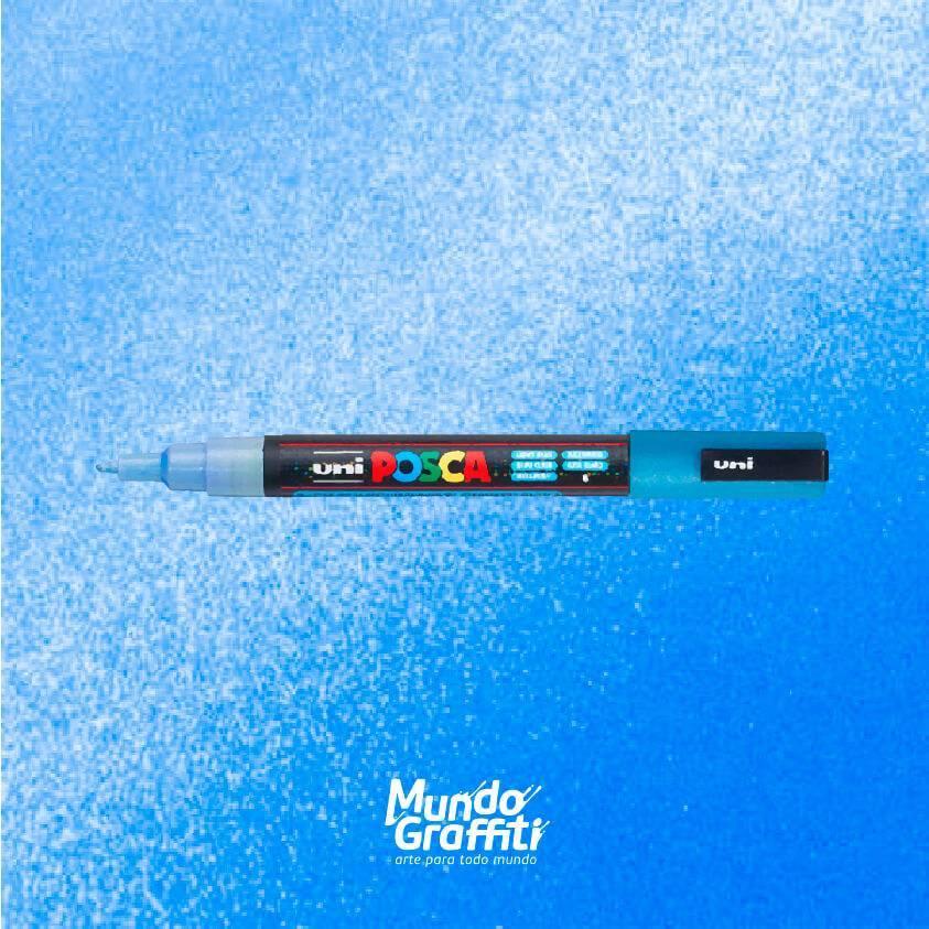 Caneta Posca 3m azul claro glitter  - Mundo Graffiti