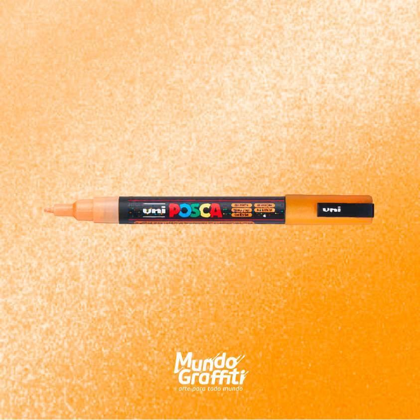 Caneta Posca 3m laranja glitter  - Mundo Graffiti