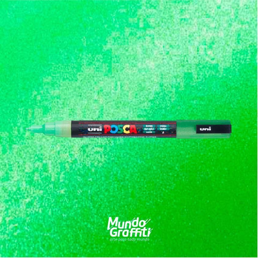 Caneta Posca 3M Verde Glitter  - Mundo Graffiti