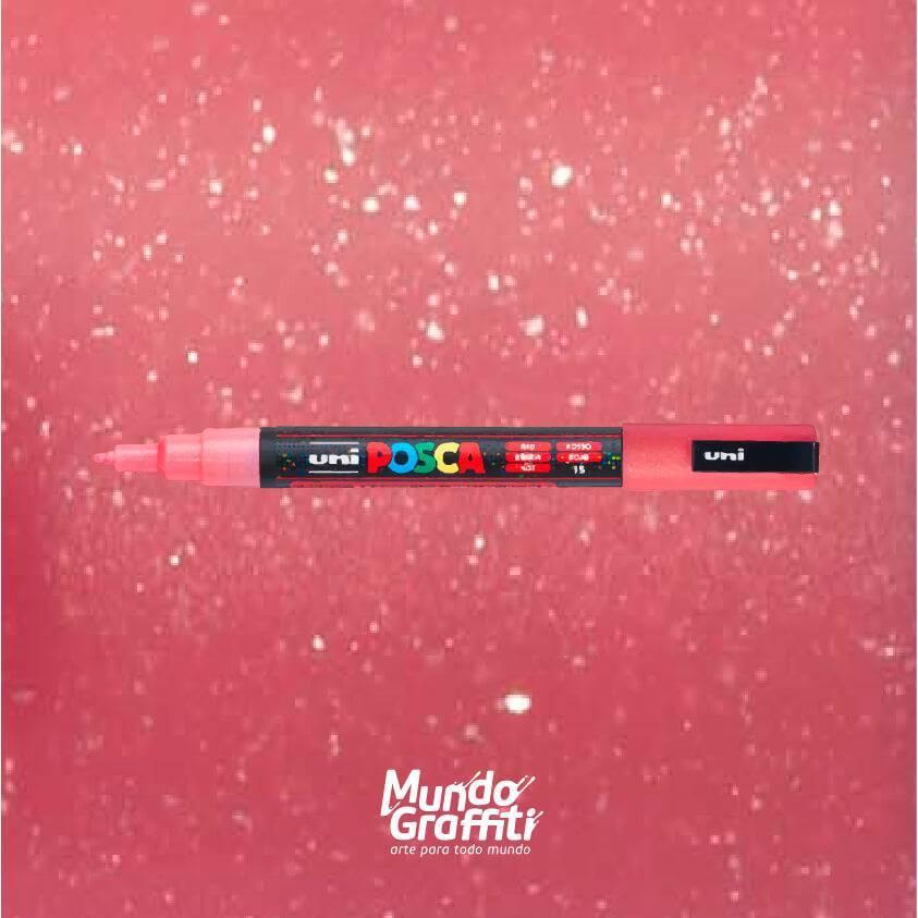 Caneta Posca 3m vermelho glitter  - Mundo Graffiti
