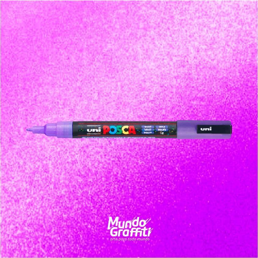 Caneta Posca 3m violeta glitter  - Mundo Graffiti