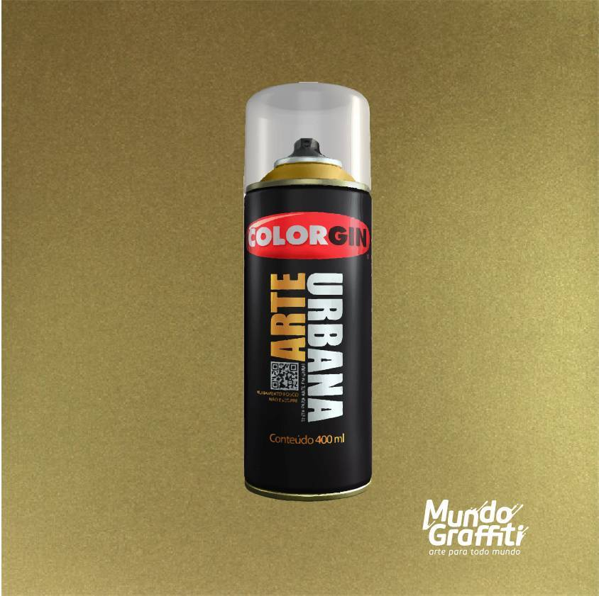 Tinta spray Arte Urbana cor 991 ouro 400 ml - Mundo Graffiti
