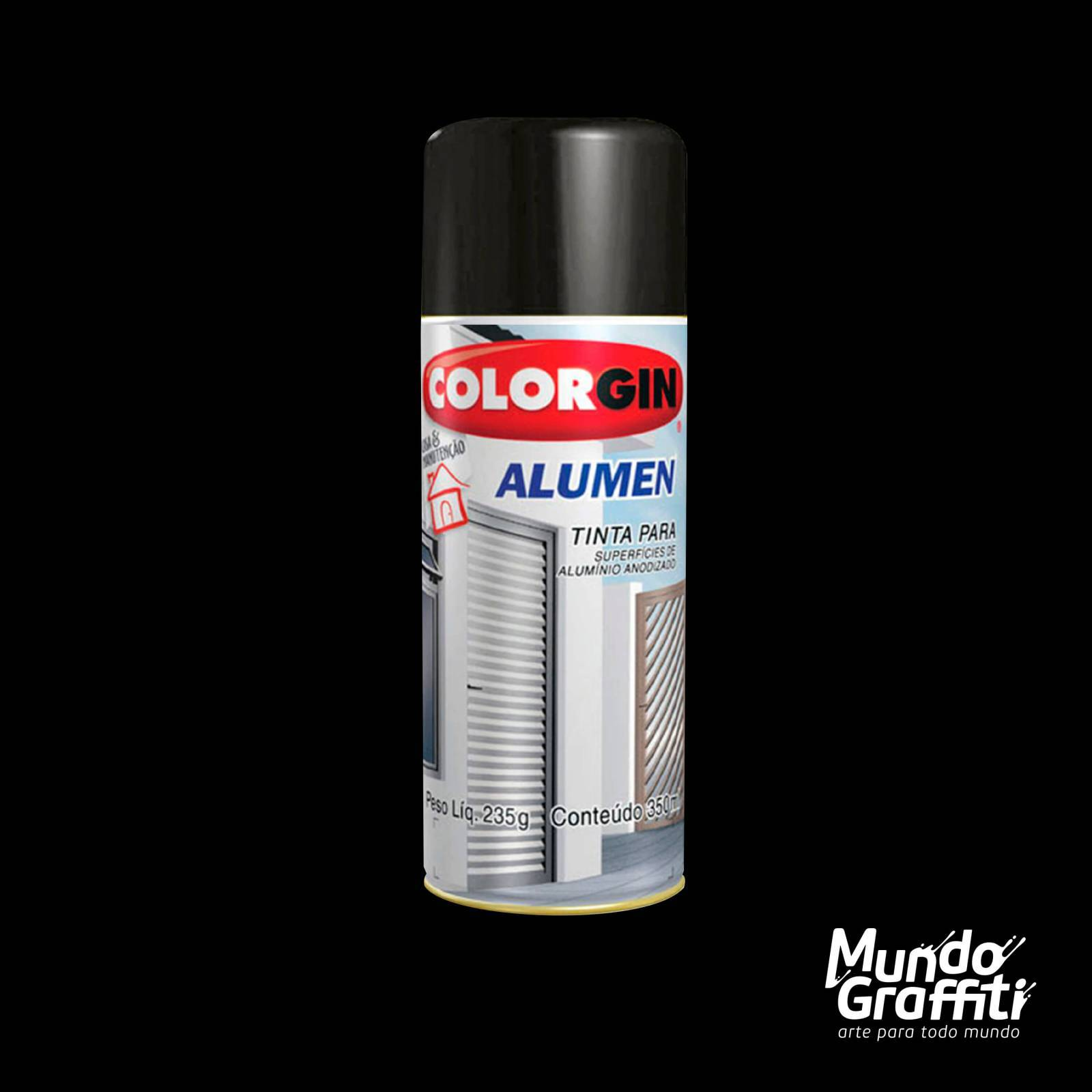 Tinta Spray Colorgin Alumen 773 Preto Fosco 350ml - Mundo Graffiti