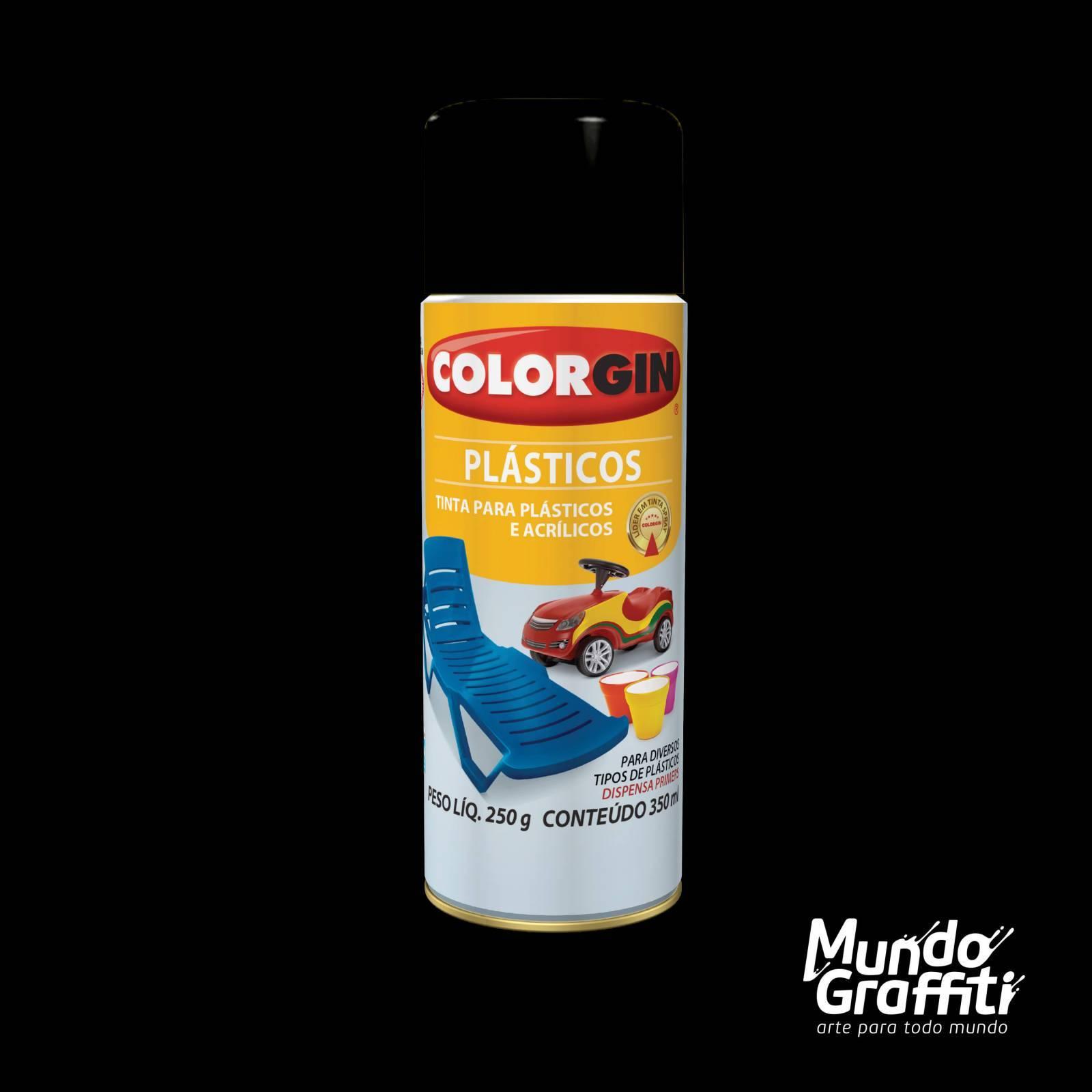 Tinta Spray Colorgin p/ Plasticos 1511 Preto Fosco 350ml - Mundo Graffiti