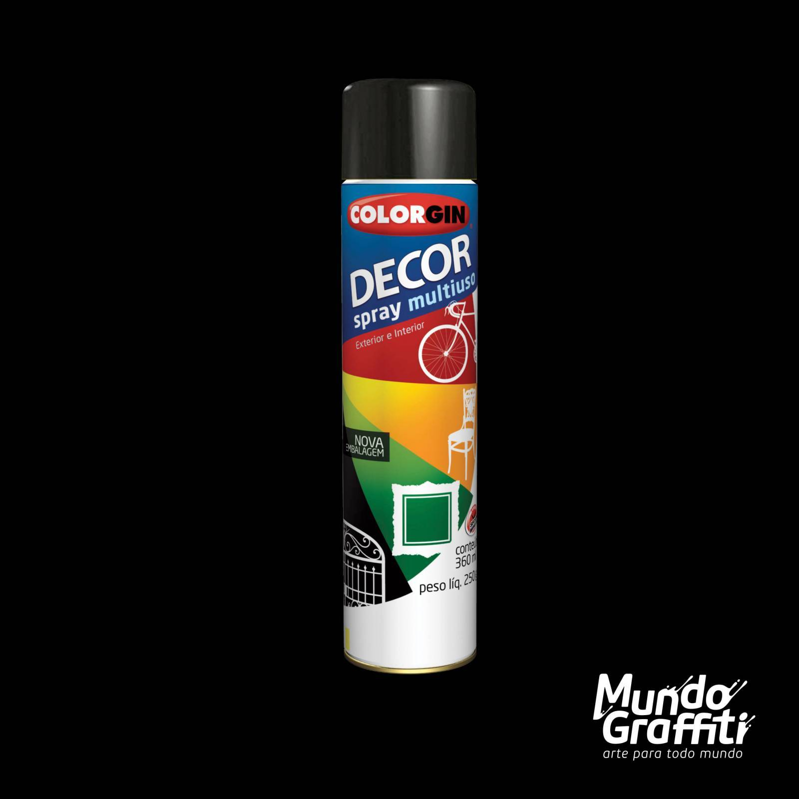 Tinta Spray Colorgin Decor 8701 Preto Brilhante 360ml - Mundo Graffiti