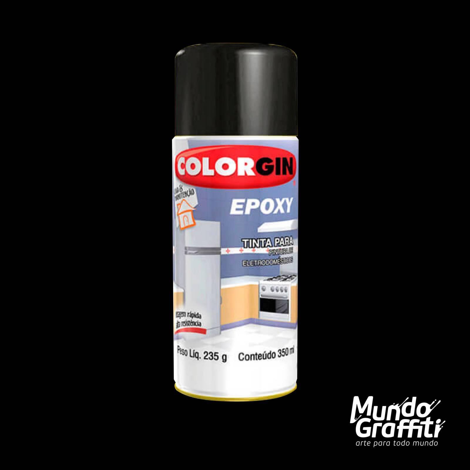 Tinta Spray Colorgin Epoxy 853 Preto Brilhante 350ml - Mundo Graffiti
