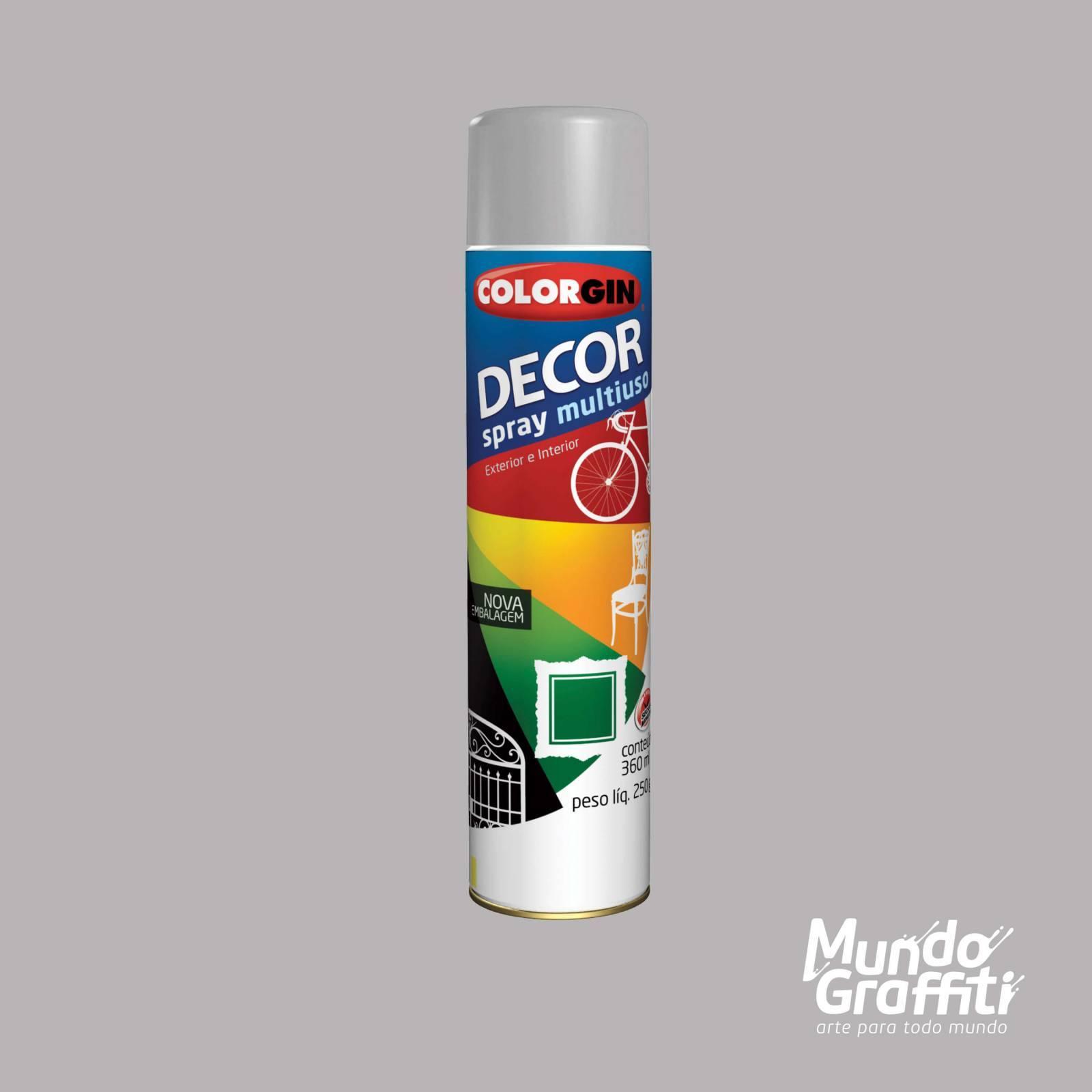Tinta Spray Colorgin Decor 8651 Cinza Brilhante 360ml - Mundo Graffiti