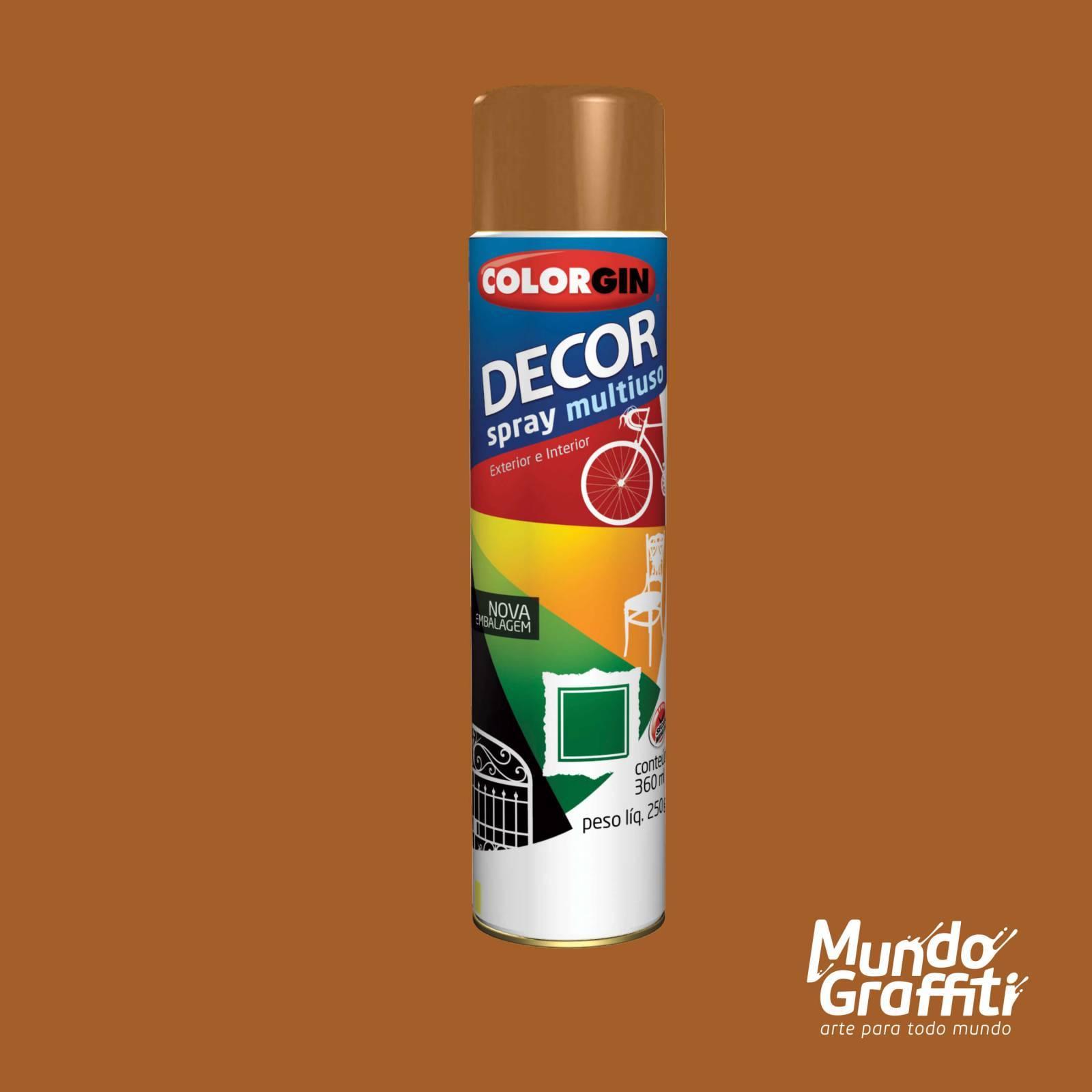 Tinta Spray Colorgin Decor 8671 Marrom Barroco Brilhante 360 - Mundo Graffiti