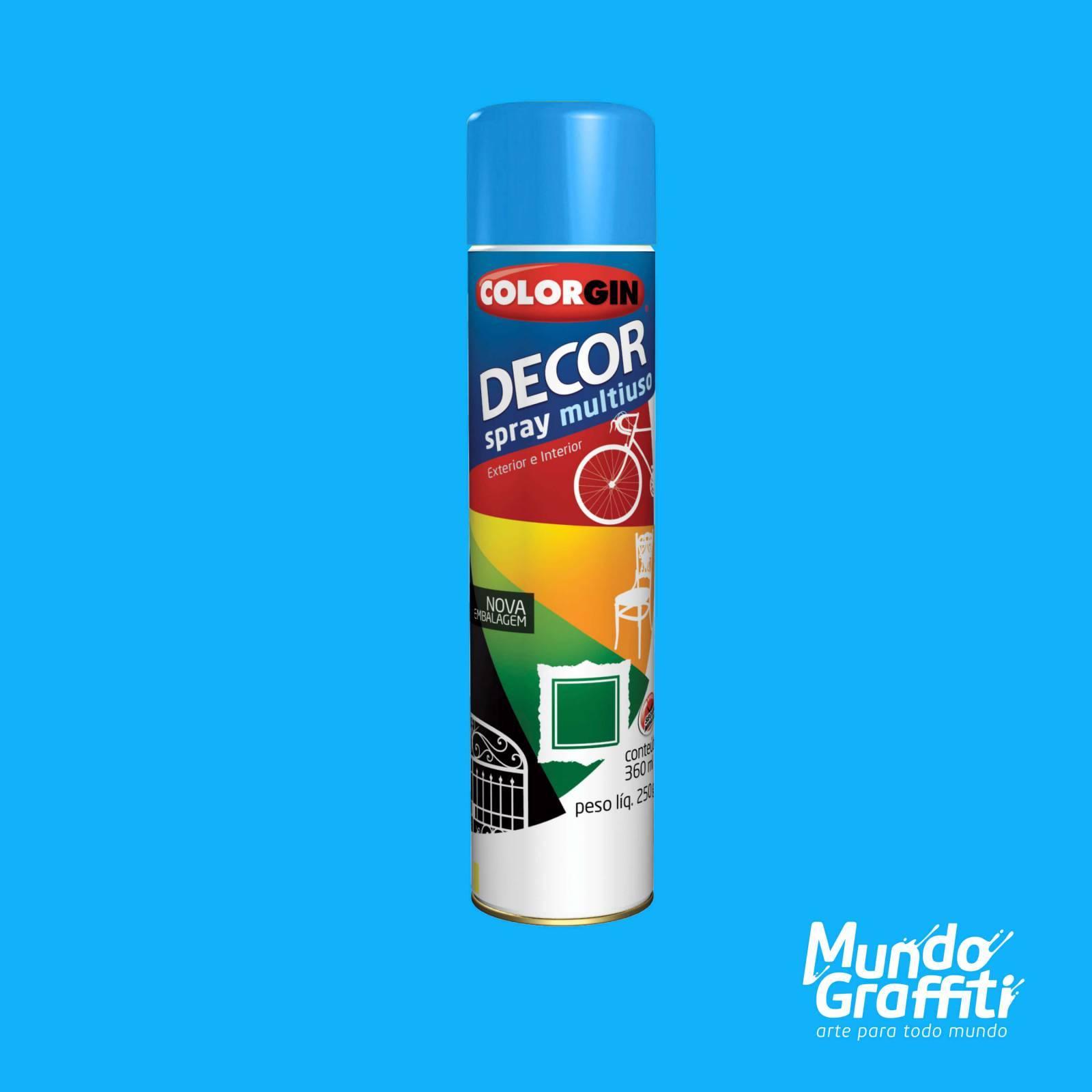 Tinta Spray Colorgin Decor 8621 Azul Médio Brilhante 360ml - Mundo Graffiti