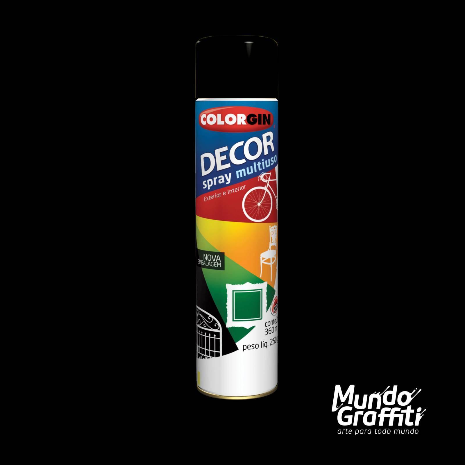 Tinta Spray Colorgin Decor 8711 Preto Fosco 360ml - Mundo Graffiti