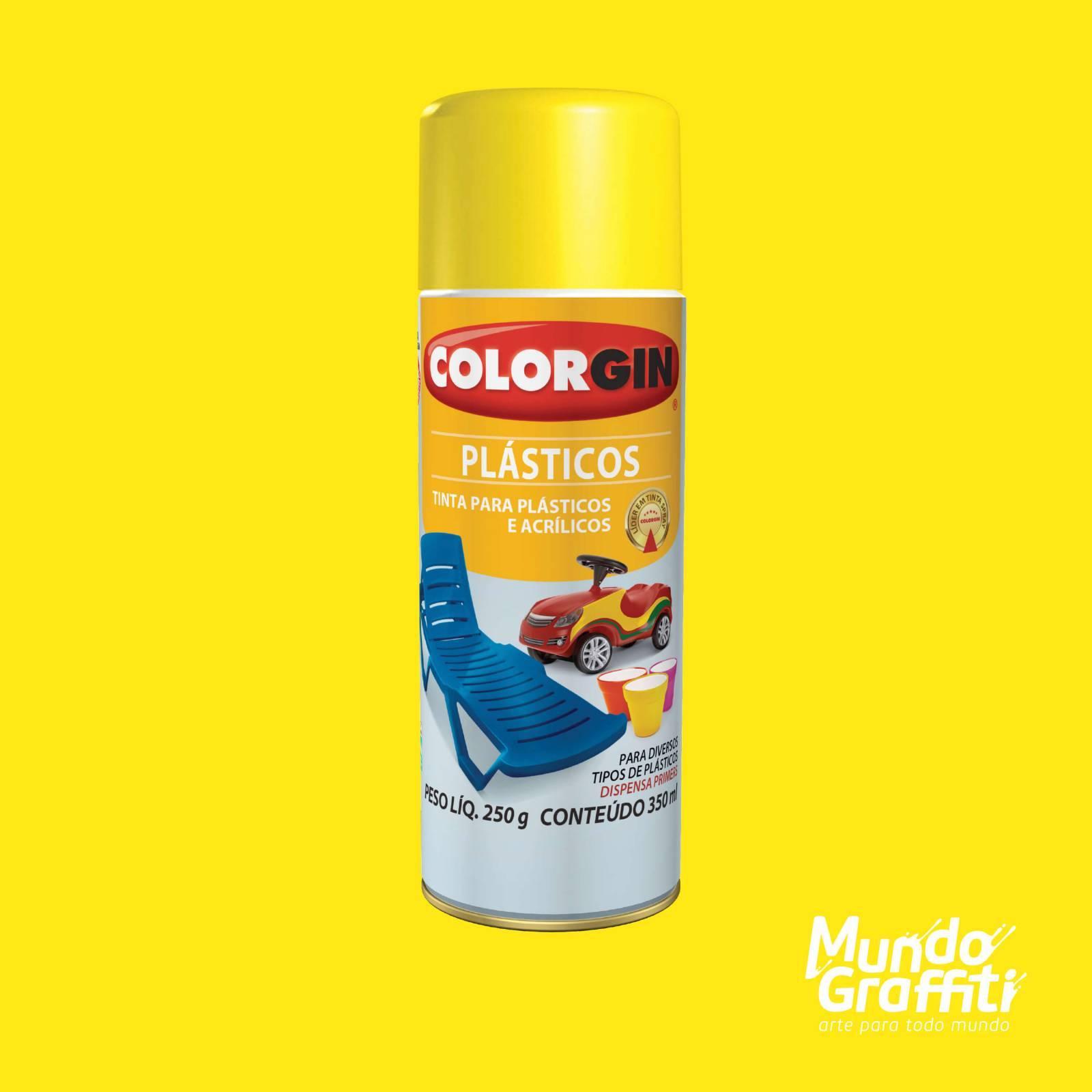 Tinta Spray Colorgin p/ Plasticos 1505 Amarelo Sol 350ml - Mundo Graffiti